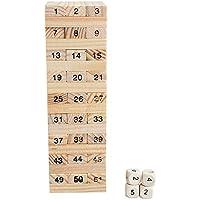 Carejoy 木製数字ジェンガ バランスゲーム 積み木 知育おもちゃ 54ブロック4サイコロ