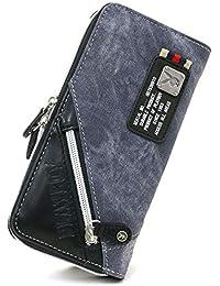 [プレイボーイ] 財布 長財布 PUレザー デニム風 ラウンドファスナー メンズ