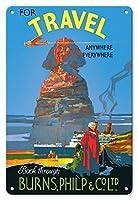 22cm x 30cmヴィンテージハワイアンティンサイン - 旅行のためのどこでも - 空気、土地、海 - スフィンクス - バーンズ、フィリップ&株式会社 - ビンテージな世界旅行のポスター によって作成された ウァルター レイシィ ジャルディン c.1930s