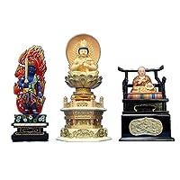 木彫仏像 真言三尊(大日如来円光背六角台彩色2.0寸、不動明王彩色3.0寸、弘法大師彩色1.5寸) 桧木