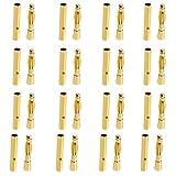 【ノーブランド品】2mm 金メッキ バナナプラグ オスとメス 20ペア 40個 セット