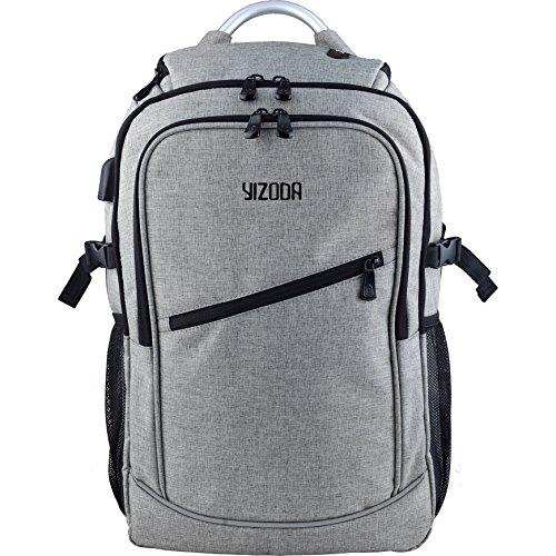 YIZODA バックパック ラップトップバックパック 耐衝撃 盗難防止 軽量 防水 大容量 多機能のポケット 出張 旅行 通勤 通学 アウトドア適用 男女兼用 グレー 17インチ 32L