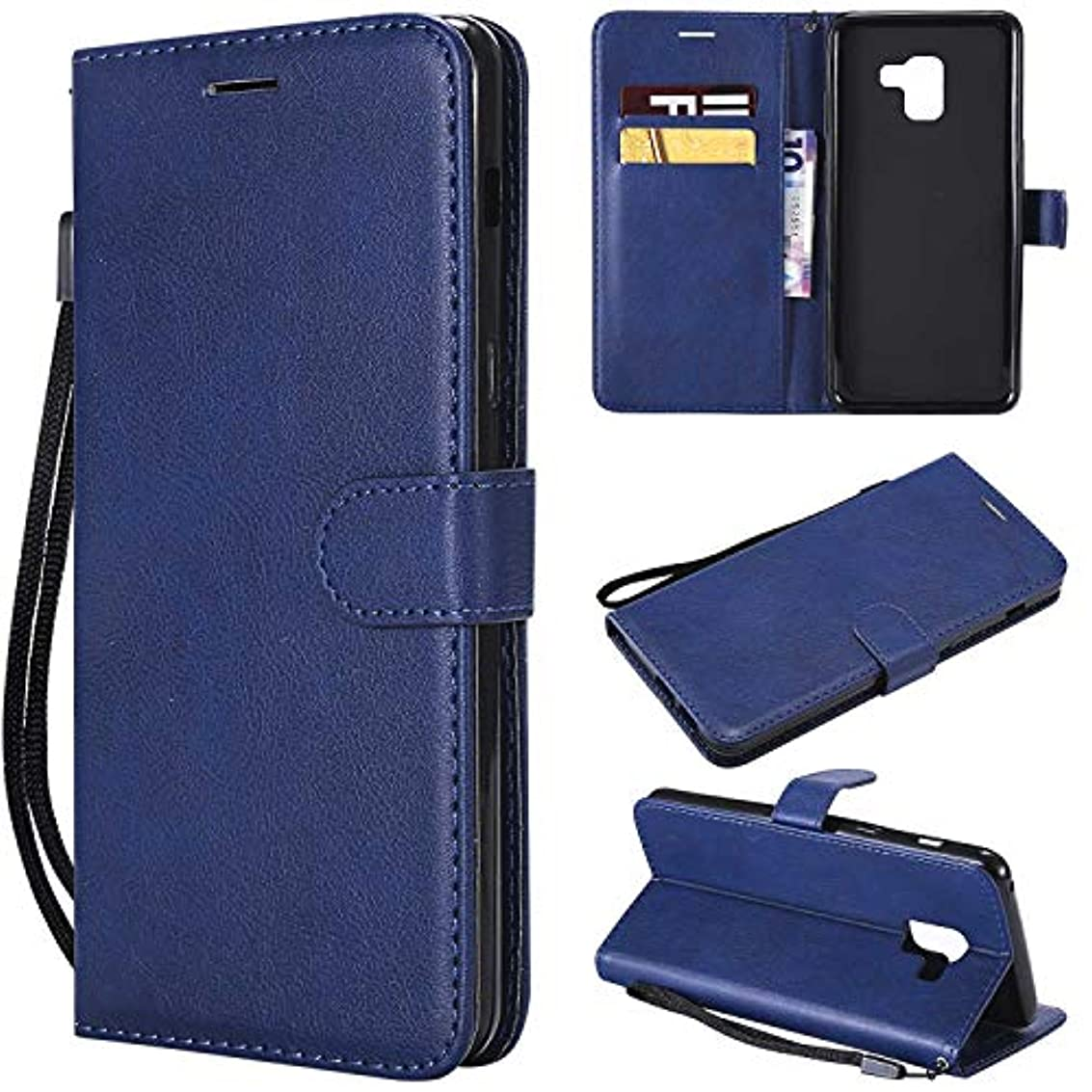 ニコチン信頼性黙Galaxy A8 Plus ケース手帳型 OMATENTI レザー 革 薄型 手帳型カバー カード入れ スタンド機能 サムスン Galaxy A8 Plus おしゃれ 手帳ケース (6-ブルー)