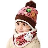 子供帽子+スヌード 2点セット 可愛い帽子 ニット帽子 耳当て 首元 暖か 防寒 冬用 ぼうし マフラー ポンポン付き 雪だるま ツリー クマ アニマル 男の子 女の子 人気アクセサリー ファッション小物 クリスマス プレゼント ギフト ピンク
