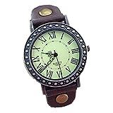 腕時計 レトロ調 メンズ レディース ブラウン ブラック ブルー アナログ アンティーク風 ファッション 生涯保証付き tohoinfinity 保管袋 キーピングバッグ付 (ブラウン)