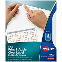 Index Maker White Dividers For Copiers, 8-Tab, Letter, Clear, 5 Sets/Pack
