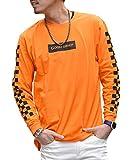 ルービック(RUBIK) Tシャツ メンズ 長袖 ロンT プリント ロングスリーブ 袖プリント ライン チェック 写真 XL C柄オレンジ