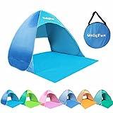 UNIQFUN(ユニクファン) サンシェード テント 2-3人用 ワンタッチテント ビーチやフィールドで直射日光から守る簡易テント ブルー