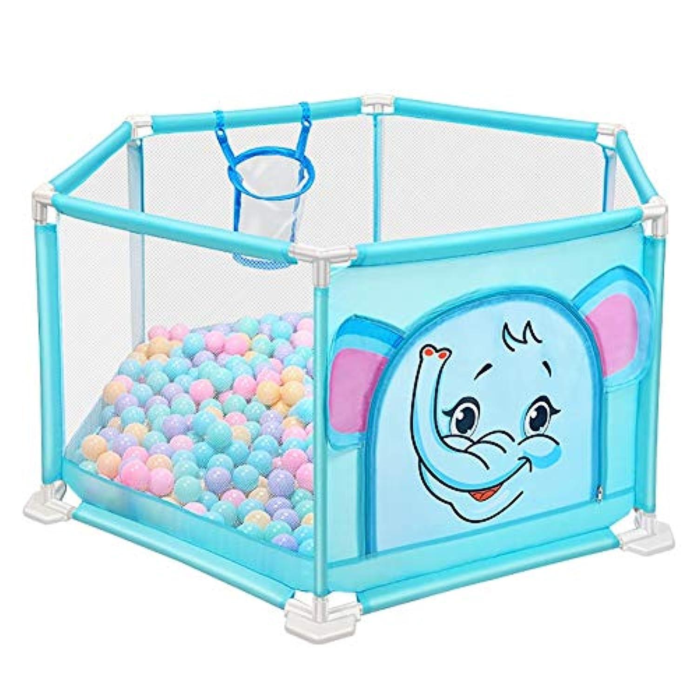 BSNOWF-ベビーサークル 折り畳み式屋内屋外プラスチック製プレイヤード、幼児用、ポータブル子供安全用プレイセンターヤード (色 : 青)