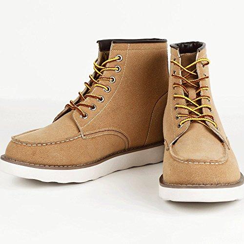9cmアップ シークレットシューズ シークレットブーツ メンズ 履くだけで背が高くなる靴 メンズブーツ ワークブーツ メンズシューズ kk5-500 ベージュ スエード仕様 27.0cm