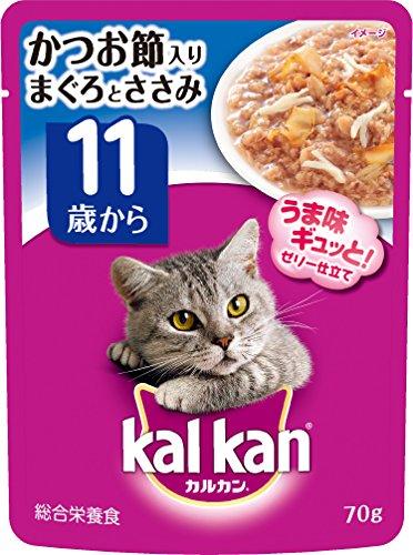 kalkan(カルカン)猫用 パウチ 11歳から かつお節り まぐろとささみ 70g 16袋 マースジャパン