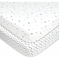 American Baby Company 2 Piece Printed 100% Cotton Jersey Knit Fitted Crib Sheet for Standard Crib and Toddler Mattresses Grey Stars and Zig Zag [並行輸入品]