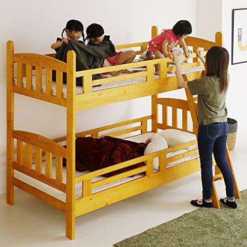 2段ベッド 二段ベッド 天然木 パイン 木製 シンプル カントリー調(ライトブラウン)