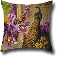 Peacock Painting Pillow Shams 20 X 20 Inches / 50 By 50 Cm For Birthday,dining Room,club,chair,christmas,pub With Twin Sides