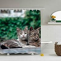 KuLuKo家の装飾コレクション、動物猫デザインの装飾、ポリエステル生地のバスルームシャワーカーテンセット、フック、60x72インチ 165X180 CM