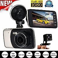 dreamyth 4インチIPS HD 1080p車背面デュアルレンズカメラDVRビデオレコーダーダッシュカムG -センサー、アメリカ倉庫出荷