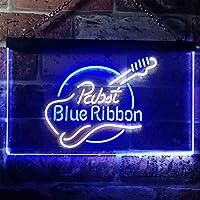 Pabst Blue Ribbon LED看板 ネオンサイン バーライト 電飾 ビールバー 広告用標識 ホワイト+ブルー W30cm x H20cm