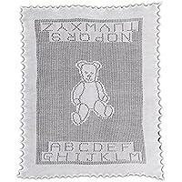 【G.H.HURT&SON】 Teddy Alphabet Baby Shawl テディベアショール (white)(正規代理店商品)