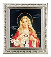 """Immaculate Heart inシルバーOrnateフレーム10"""" x 12""""全体寸法1–3/8"""" Wide Facing toフィットに8"""" x 10""""イタリアリトグラフ[ガラス"""