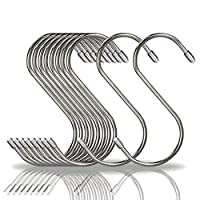 COM4SPORT S形フックs字フック s形ハンガー ステンレス鋼 ホーム、キッチン、ガレージ、ワークショップ (シルバーカラー)10個セット