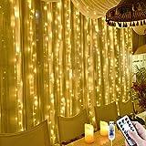 KNONEW LEDイルミネーションライト 2m×2m カーテンライト 200LED電球 マルチ フェアリーライト 多色 ストリップライト スピード変化 リモコン操作 タイマー機能 防水 屋外 室内 電飾 クリスマス/新年/結婚式/誕生日/祝日/パー