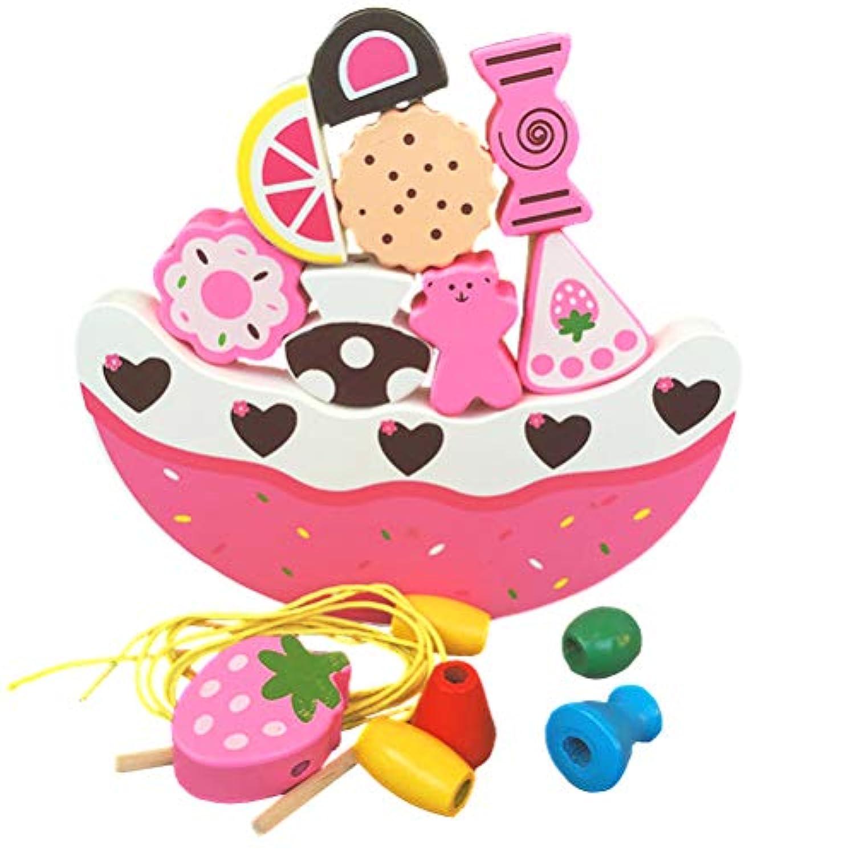 (アワンキー) Aoneky バランス ゲーム パズル 積み木 木製 ブロック 知育 おもちゃ フルーツ ケーキ 贈り物 収納袋付き (ピンク)