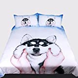 3つの動物の効果白い掛け布団枕カバー枕の通気性デザイン(シングルダブルクイーンキング)3つの完全な寝具セット,220*240Cm Rventric