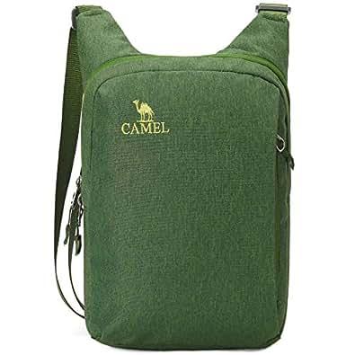 ショルダーバッグ ショルダーポーチ CAMEL メッセンジャーバッグ 鞄 防水 斜めがけ 耐磨 男女兼用 縦型 斜めがけバッグ 肩掛けポーチ アウトドア 旅行 通学 散步 多機能収納カジュアルバッグ(ライトグリーン,2L)