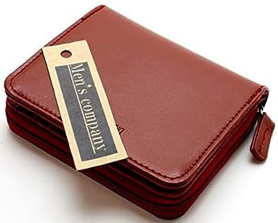 [メンズ カンパニー]Men's company 「 レッドステッチ仕様 牛革 二つ折り財布 」 使いやすい大型ラウンド小銭入れ コンパクトサイズでも小銭 カード類も沢山収納 カード収納財布 小銭入れ コインケース [男女兼用] (ブラウン)