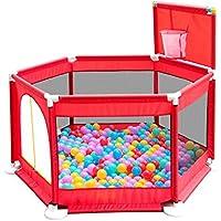 ポータブル屋外折りたたみ式ベビープレイフェンスフェンスとボール屋内ホームキッズセーフティアクティビティセンター6パネル、赤 (色 : Playpen+200 Balls)