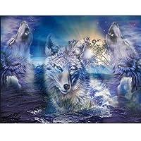 Diy 5d動物オオカミ装飾ダイヤモンド絵画モザイクダイヤモンド刺繍絵画クロスステッチ工芸家の装飾アート,45x60cm