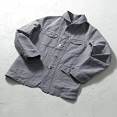 Scye Linen Cotton Chambray Shawl Collar Jacket: Greyish Blue