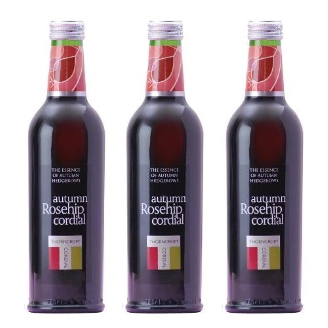 申し立てる覚えているスキッパーソーンクロフト ハーブコーディアル ローズヒップ375ml3本セット【イギリス伝統の天然ハーブ健康飲料】