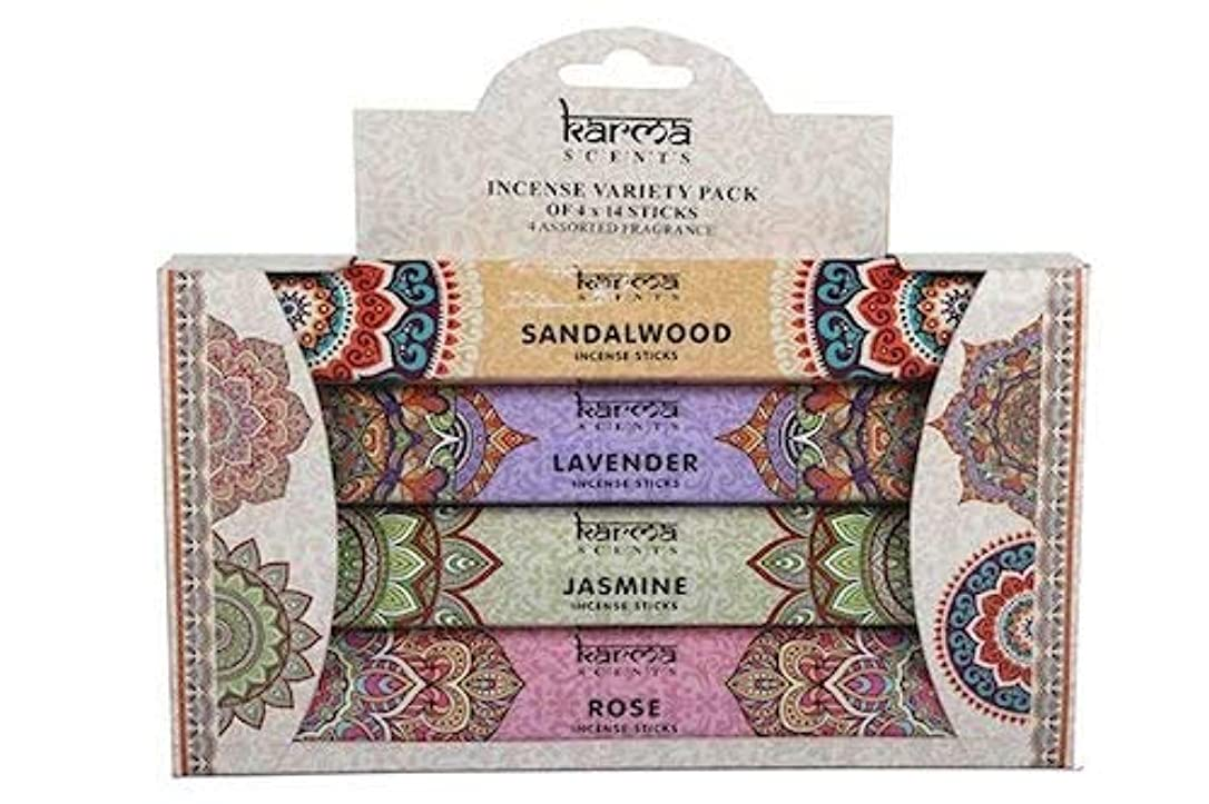 KARMA INCENSE VARIETY PACK 4 x 14スティックはJASMINE-ROSE-SANDLAWOOD-LAVENDERです
