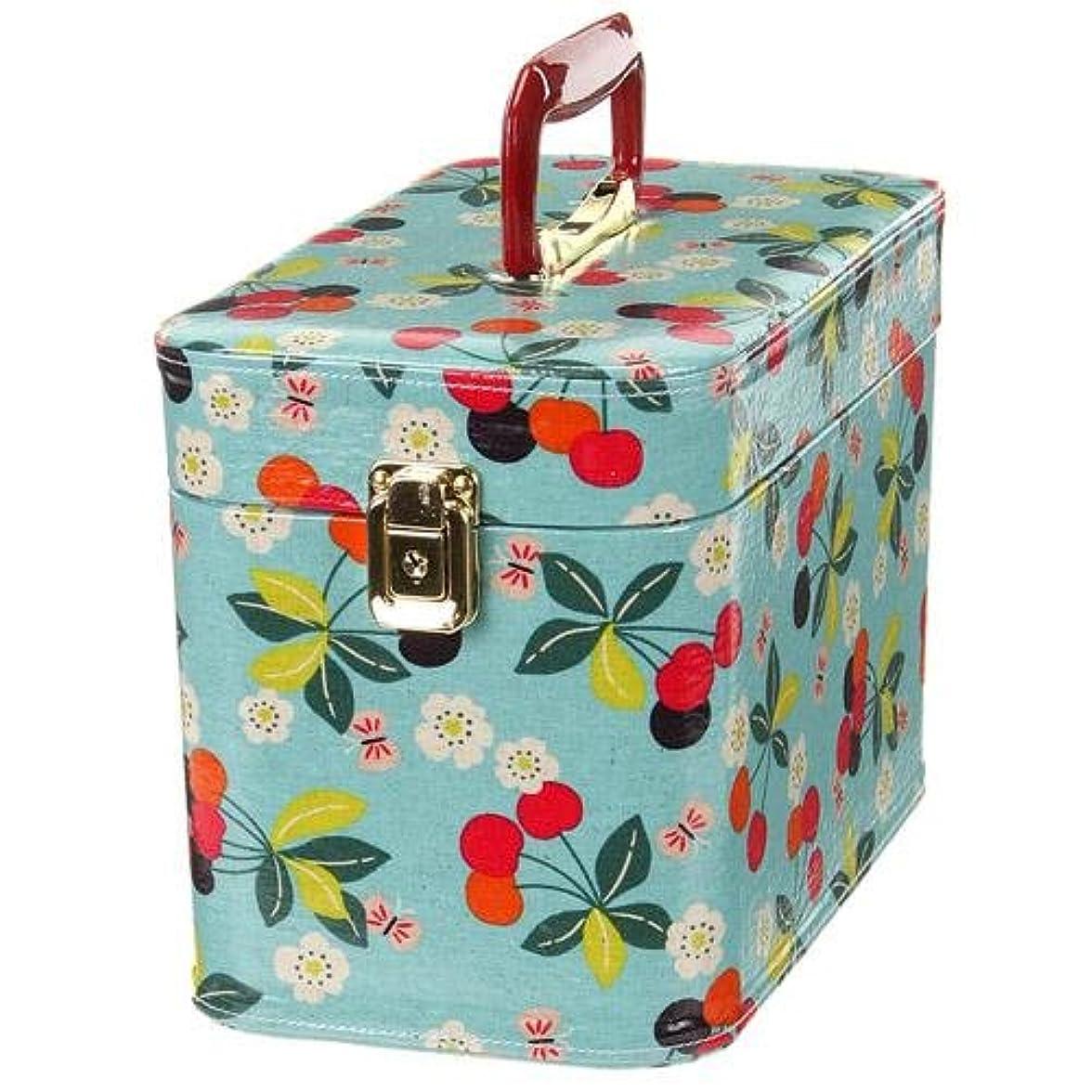 日本製 メイクボックス (コスメボックス)桜桃柄 30cm マリンブルー トレンケース(鍵付き/コスメボックス)