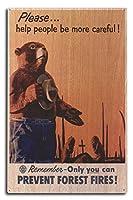 Smokey Bear–Pleaseヘルプ人にもっと注意–ヴィンテージポスター 10 x 15 Wood Sign LANT-79805-10x15W
