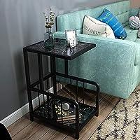 HAIZHEN 大理石のソファサイドC-テーブルの金属のベースアクセントのテーブルコーナーテーブルナイト表4色 (色 : Black+black)