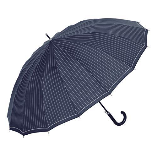 傘と日傘専門店リーベン 長傘 ネイビー 65cm×8本骨 16本骨ジャンプ傘 65cm ストライプ LIEBEN-0191-n B00BFOU3LG 1枚目
