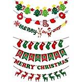 Burning Go クリスマス バナー パーティー 飾り DIY 7点セット 3m 不織布 吊り飾り サンタ クリスマスツリー トナカイ 小道具 装飾壁掛け デコレーション 写真背景 店舗 ショップ
