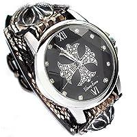 腕時計 メンズ ヘビ革ベルト ジルコニアクロス文字盤 ブレスウォッチ クロスコンチョ CWLBW-003