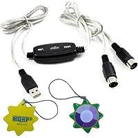 HQRP USBイン-アウトMidiインターフェイスケーブルコンバータPC to音楽キーボードアダプタコードAcorn Instruments Masterkey 61USB MIDIコントローラキーボードプラスHQRP UVメーター
