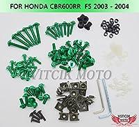 VITCIK ホンダ Honda CBR 600 RR F5 2003 2004 CBR 600 RR F5 03 04 オートバイ用フルフェアリングボルトネジキット ファスナー CNC アルミクリップ (グリーン)