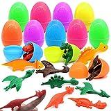 ibohr 12pcs Easter Eggs with Dinosaur Stretchy Finger Slingshot Toys inside, Bright Colorful Easter Eggs Easter Basket Stuffers Fillers for Kids Boys Girls Easter Hunt