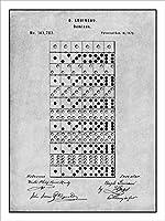 "1873Louineau Dominoes Game特許印刷アートポスター額なしグレー18"" x 24"""