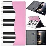 F.G.S iPad air2 ケース 保護フィルム スタンド機能 カードホルダ付き ピンクピアノ PUレザー PADA2-Z03-A86