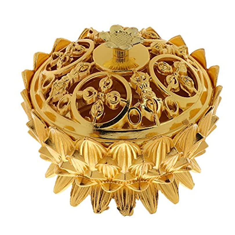 商標動揺させる枯れるSONONIA 仏教 チベット 蓮 香りバーナー 香炉 金属 工芸品 家 装飾 全3選択 - #3