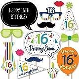 Big Dot of Happiness 16歳の誕生日 - 陽気な誕生日 - カラフルでスイートな16歳の誕生日パーティー写真ブース小道具キット - 20個