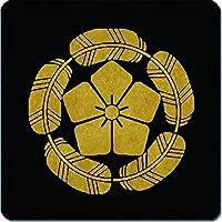 家紋シール 五つ鷹の羽丸に桔梗紋 10cm x 10cm KS10-1127
