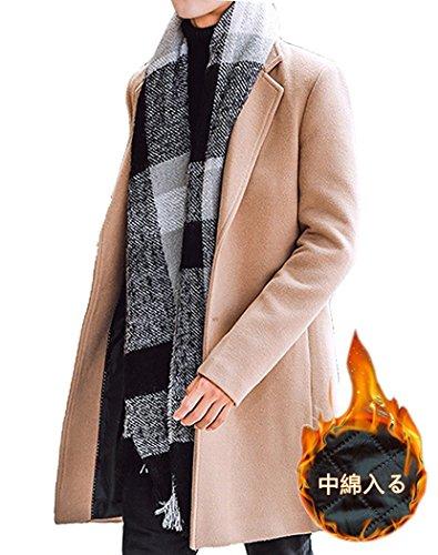 秋冬 メンズ メルトン コート チェスターコート 暖かい ロング丈 アウター カーキ(中綿) XL