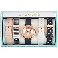 Women's Rose Gold Watch with Stones and Interchangeable Patterned Leather Straps